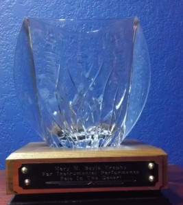 The Mary Boyle Trophy for winning the Feis in the Desert Instrumental Competition